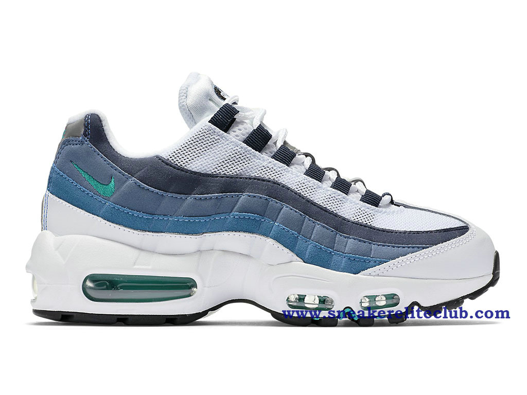 chaussure de basket ball nike air max 95 og gs pas cher pour femme blanc gris bleu 307960 100. Black Bedroom Furniture Sets. Home Design Ideas