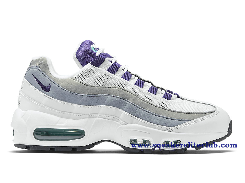 chaussure de basket ball nike air max 95 og gs pas cher pour femme blanc gris pourpre 307960 101. Black Bedroom Furniture Sets. Home Design Ideas