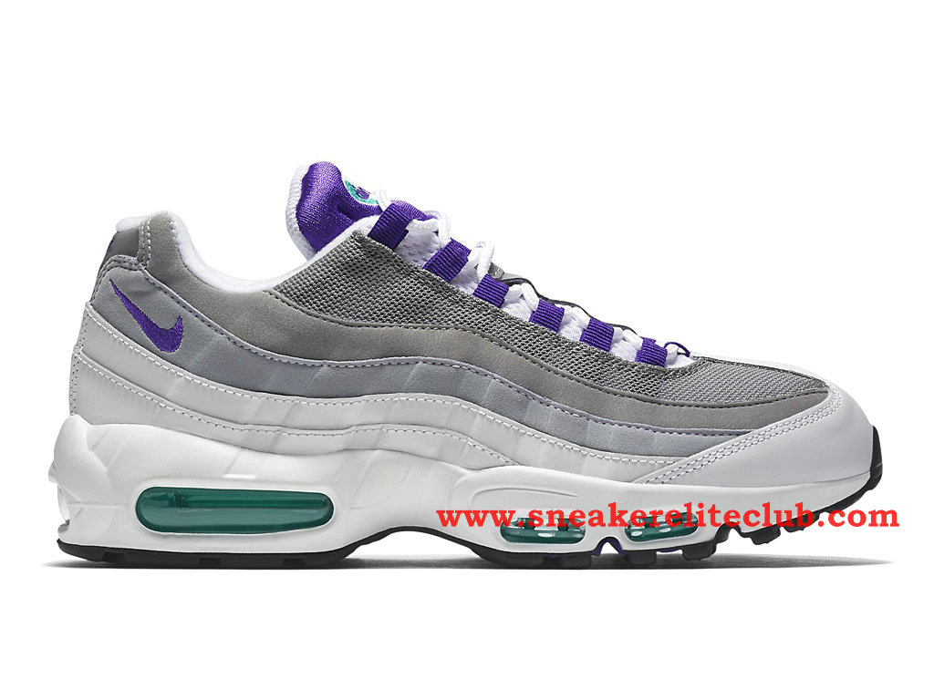 Chaussure De BasketBall Homme Nike Air Max 95 OG Blanc/Gris/Pourpre 554970-151
