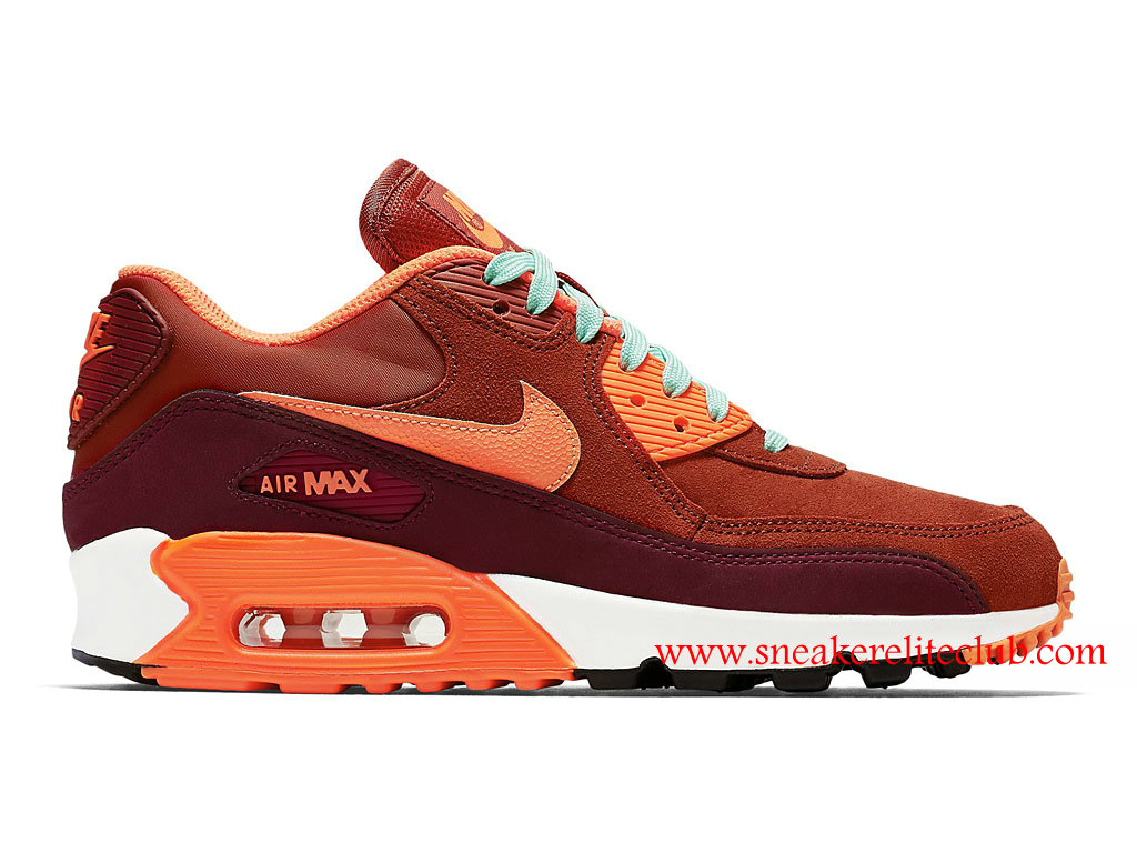 Chaussure Femme Nike Air Max 90 LTHR Pas Cher Rouge/Brun 768887-600