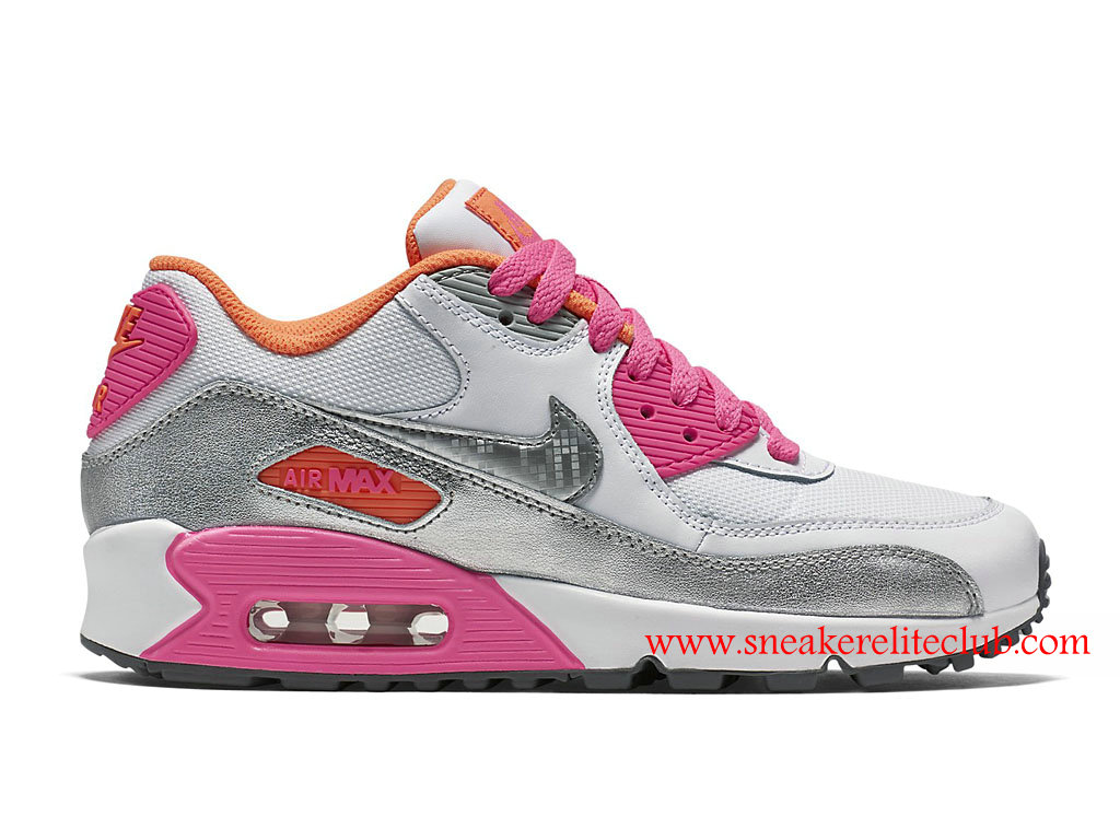 Chaussure Femme Nike Air Max 90 Pas Cher Argent/Blanc/Rose 724855_101 ...