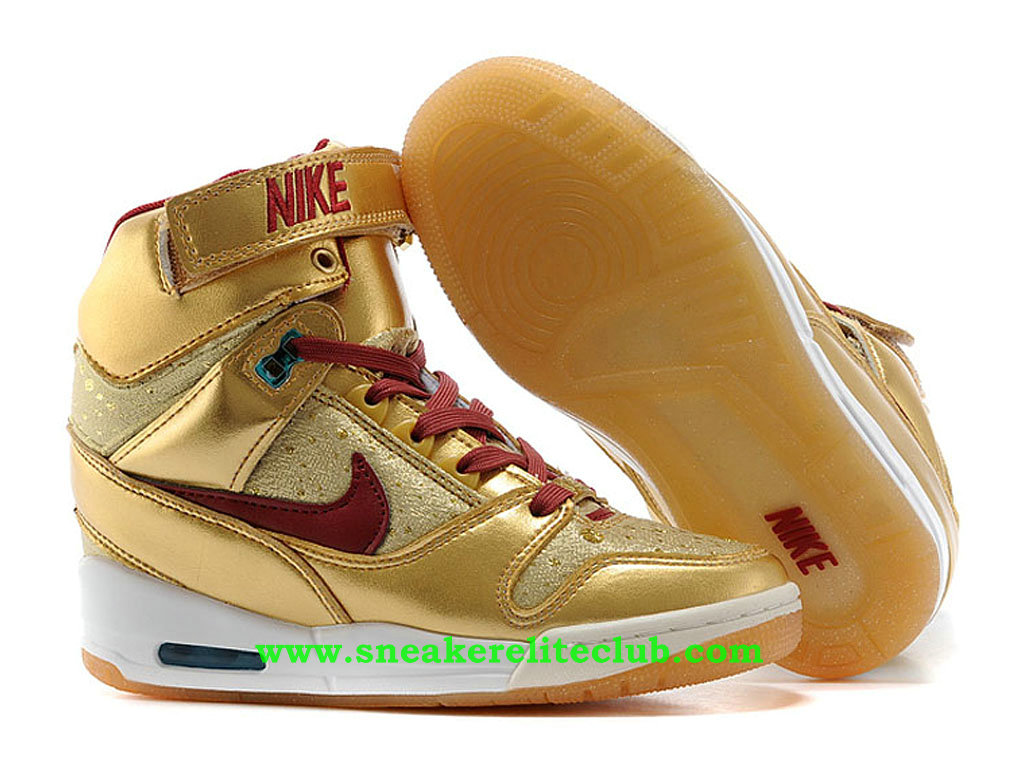 Chaussure Montante Nike Air Revolution Sky Hi BHM Pas Cher Pour Femme/Fille Or/Rouge 649460-700