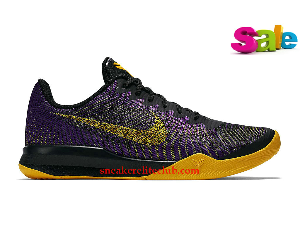Chaussures BasketBall Homme Nike KB Mentality II EP Pas Cher Noir/Pourpre/Jaune 818953_501