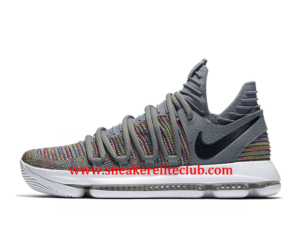 Chaussures BasketBall Homme Nike KD 10 Multicolor Pas Cher Prix Black-Cool Grey-White 897815_900