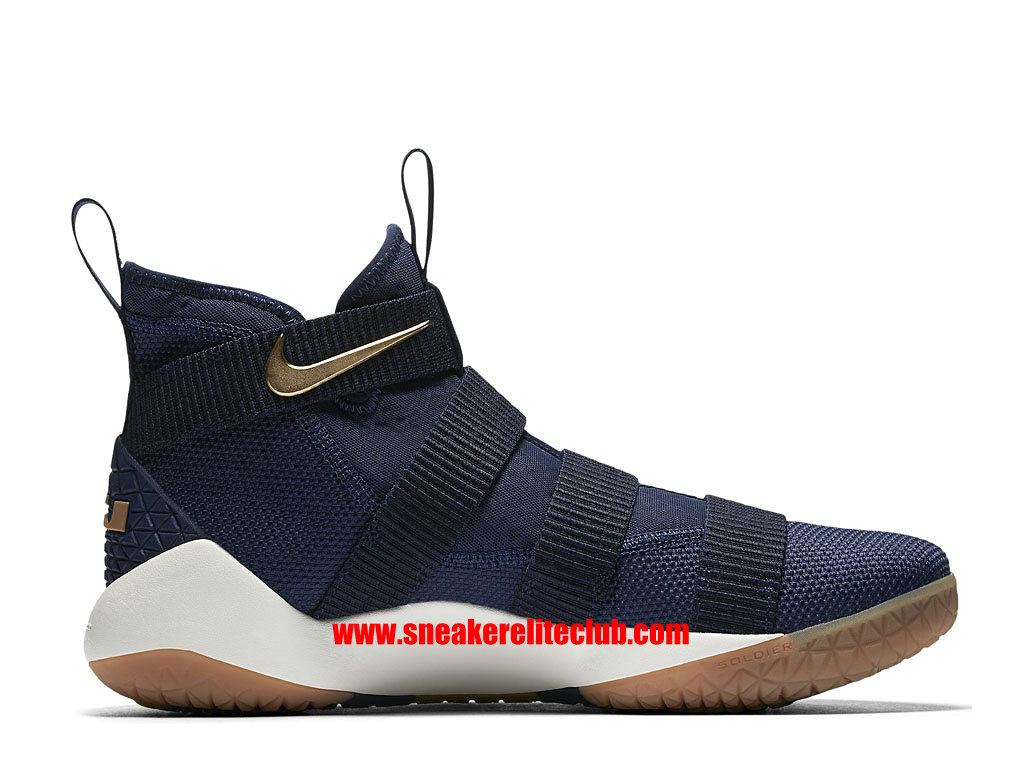 Chaussures De BasketBall Homme Nike LeBron Soldier 11 Cavs Alternate Prix Pas Cher Midnight Navy/Metallic Gold-White 897644_402