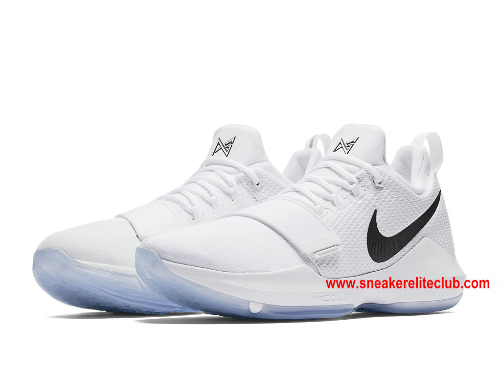 Chaussures De BasketBall Homme Nike PG 1 White Ice Prix Pas Cher Blanc/Noir 878627_100