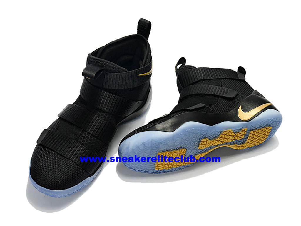 on sale 523b0 82cc5 ... Men´s Basketball Shoes Nike Zoom LeBron Soldier 11 Price Cheap Official  Black Gold ...