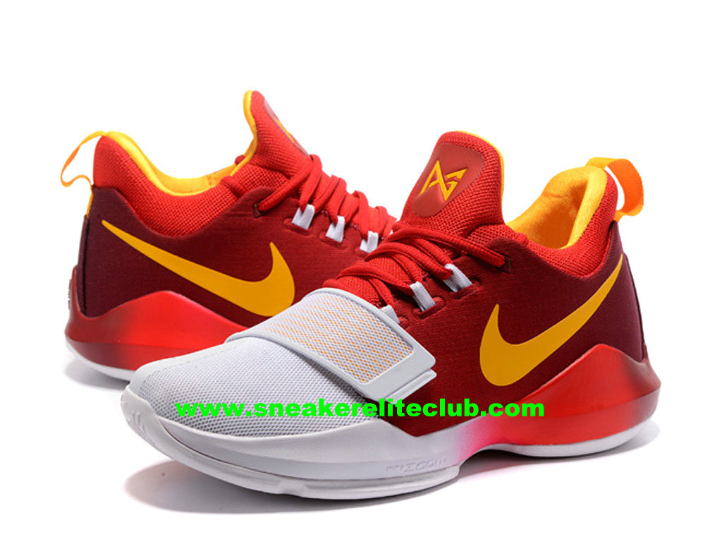 Chaussures De BasketBall Nike PG 1 Hickory Prix Homme Pas Cher Rouge/Jaune/Blanc 878627_ID001