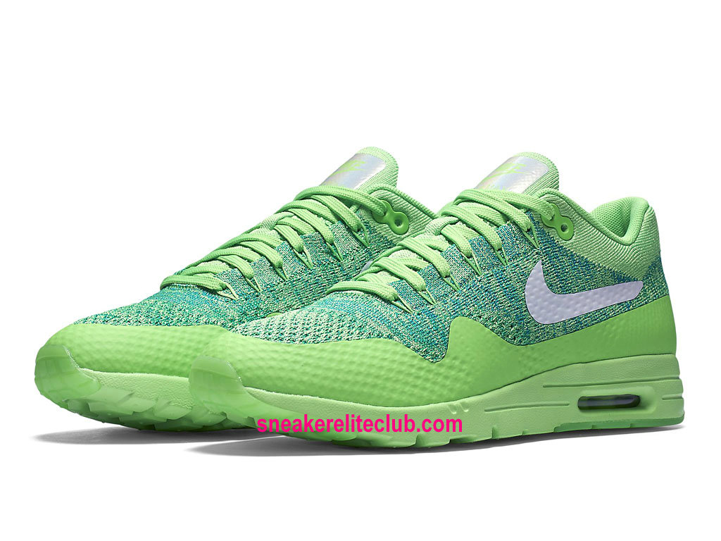 Chaussures De Course Nike Air Max 1 Ultra Flyknit Prix Femme Pas Cher Voltage Green/White/Lucid Green