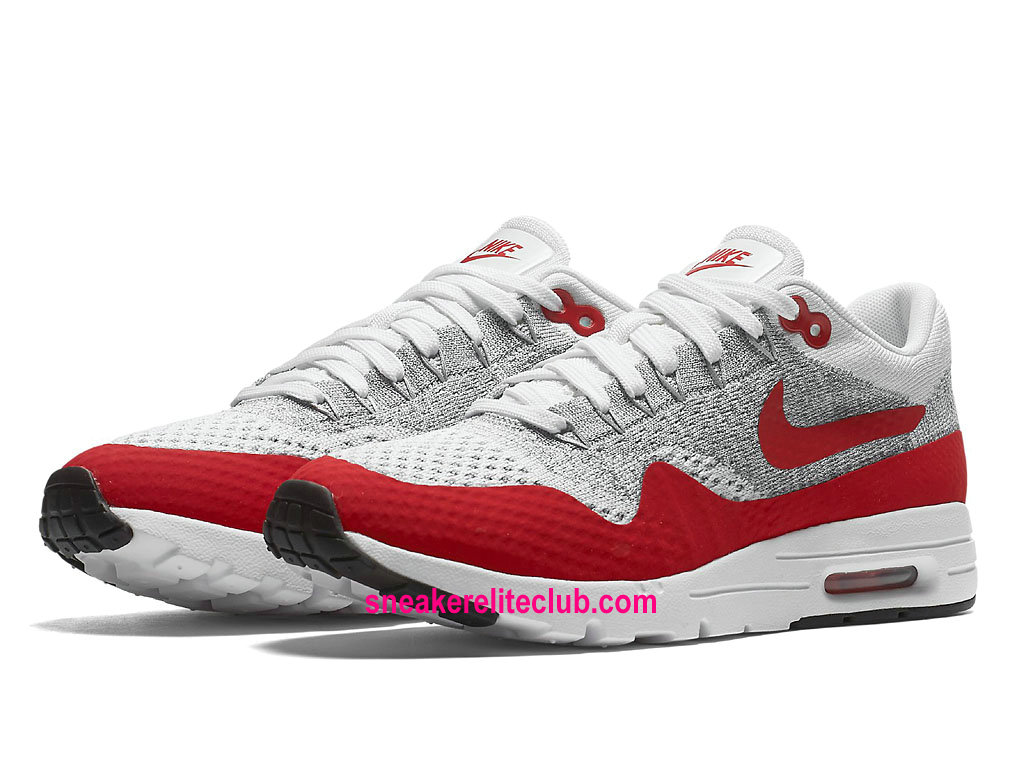 Chaussures De Course Nike Air Max 1 Ultra Flyknit Prix Femme Pas Cher White/University Red/Pure Platinum
