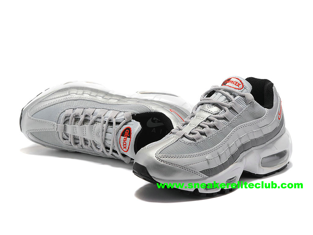 7aae34308b43 ... Chaussures De Running Nike Air Max 95 ID Femme Prix Pas Cher Gris/Argent/  ...
