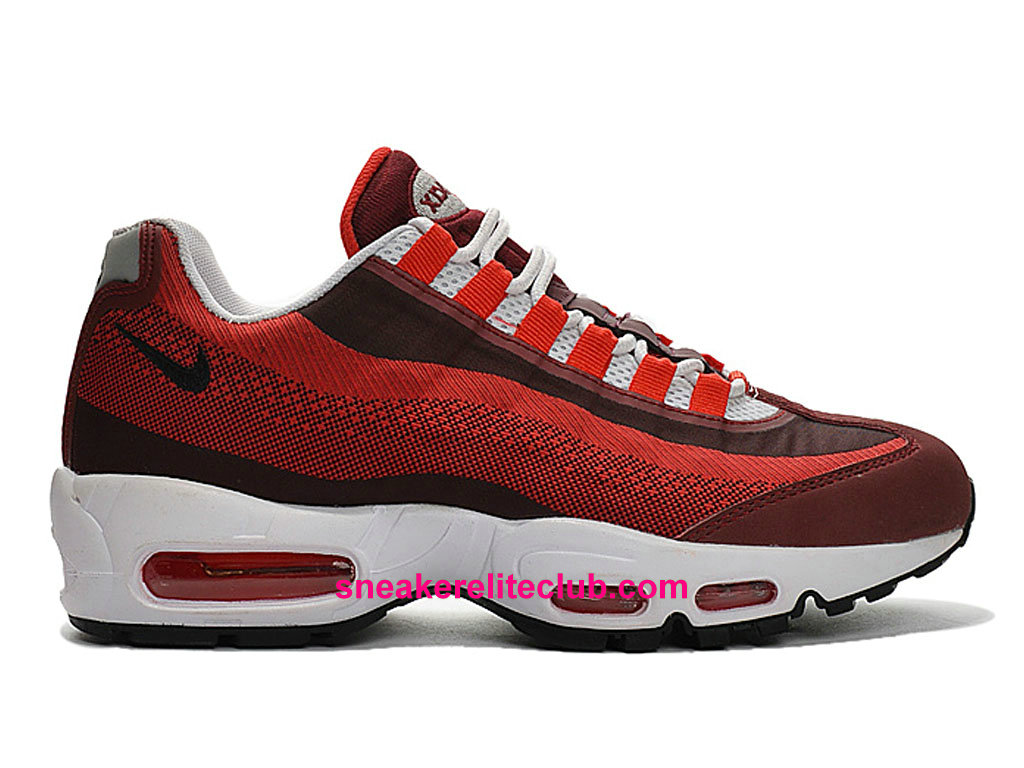Chaussures De Running Nike Air Max 95 Jacquard Prix Homme Pas Cher Rouge Brun Blanc 644793-600