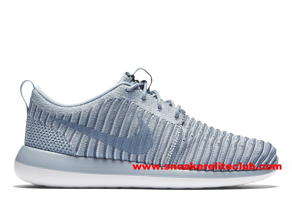 Chaussures Femme Nike Roshe Two Flyknit Prix Pas Cher Bleu/Gris/Blanc 844929_400
