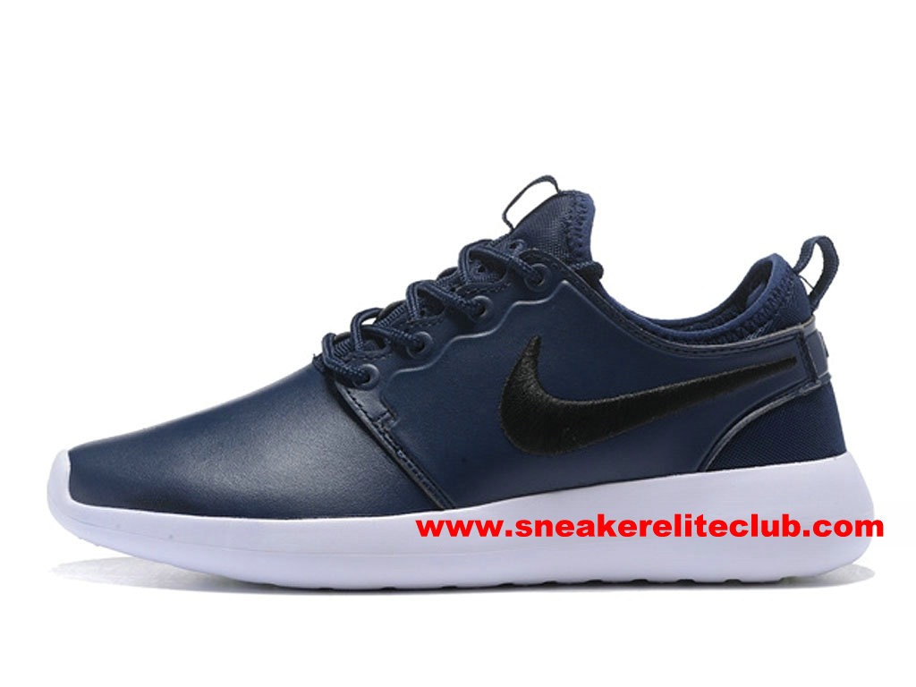 Chaussures Femme NikeLab Roshe Two Leather PRM ID Prix Pas Cher Bleu/Noir/Blanc 876521_ID003