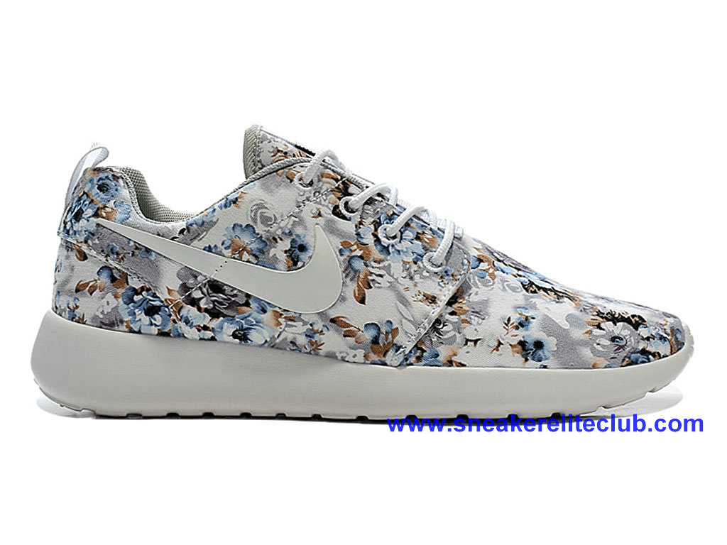 Chaussures Femme Pas Cher Nike Roshe One Print Gris/Blanc 655206-I02