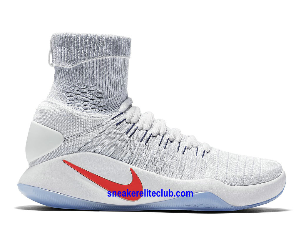 Chaussures Homme Nike Hyperdunk 2016 Flyknit Prix BasketBall Pas Cher Blanc/Rouge
