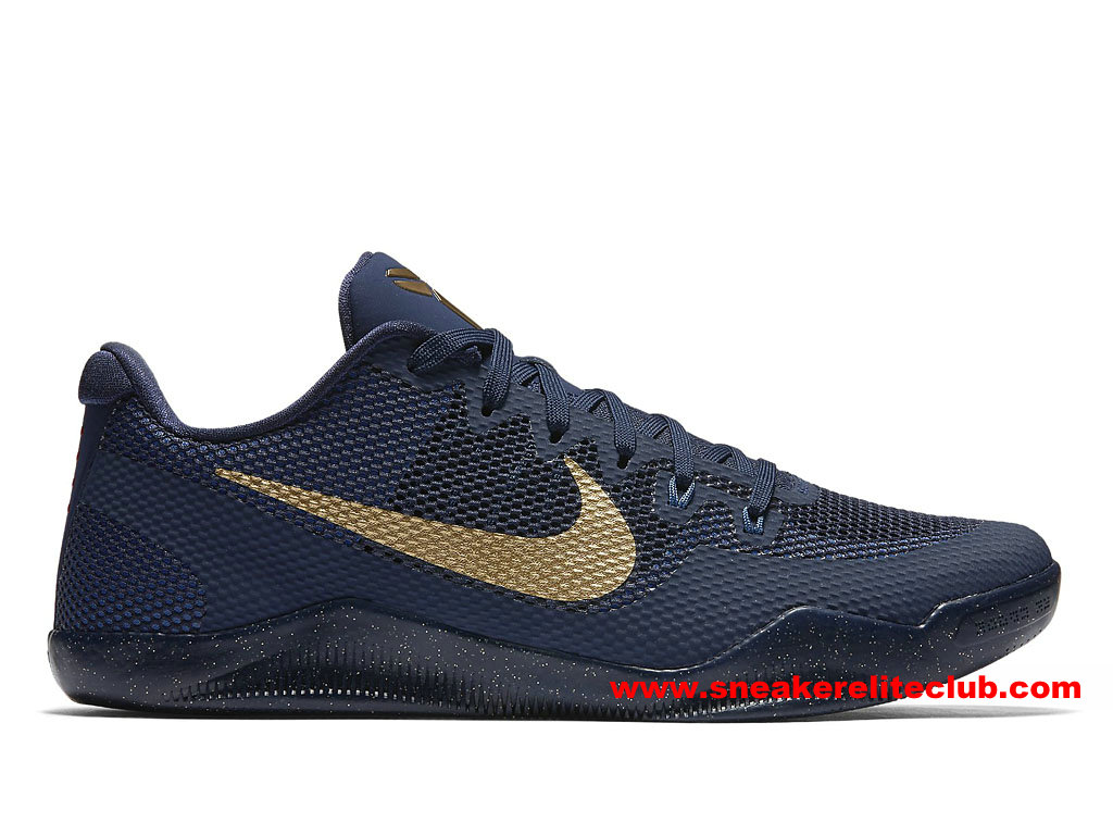 Chaussures Homme Nike Kobe 11 Elite Low Philippines Prix Pas Cher Deep Bleu/Or 836183_447