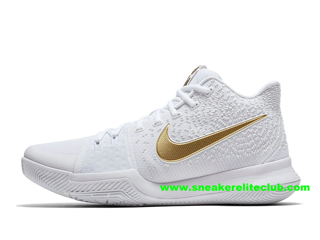 reputable site ba2c2 922d9 Chaussures Homme Nike Kyrie 3 Finals BasketBall Prix Pas Cher Blanc Or  852396 902 ...