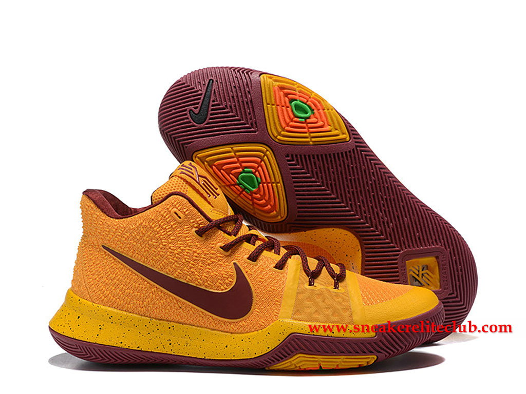 Chaussures Homme Nike Kyrie 3 ID BasketBall Prix Pas Cher Jaune/Brun 852395_I013