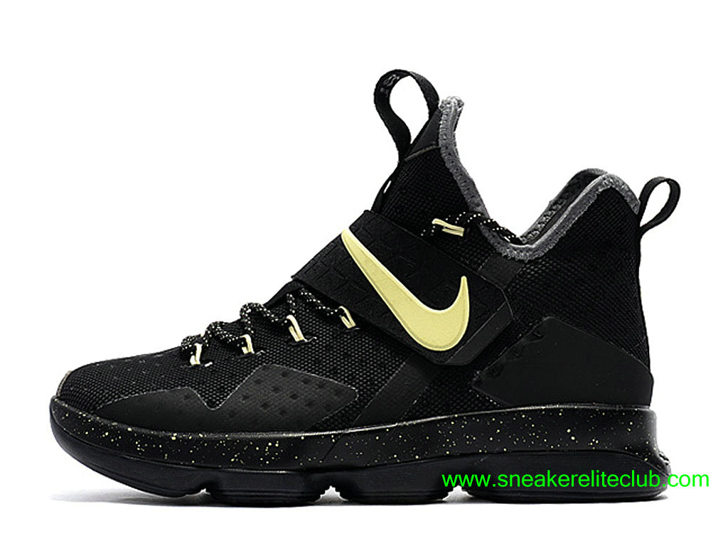 Chaussures Nike LeBron 14 Game 7 Prix Pas Cher Pour Homme Noir/Or 860634_A006