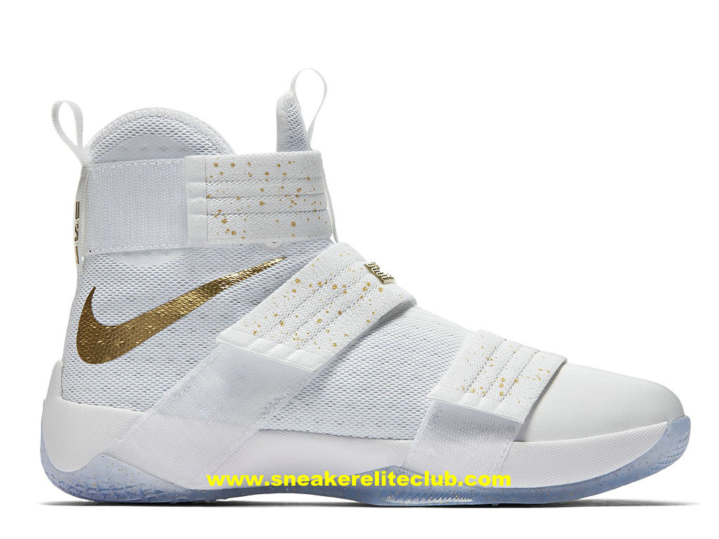 Chaussures Nike Zoom LeBron Soldier 10 Pas Cher Pour Homme Blanc/Or 883333_174