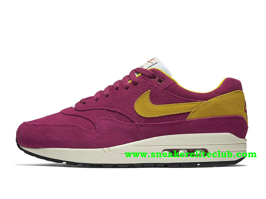Chaussures Running Homme Nike Air Max 1 Prix Pas Cher Pourpre/Jaune 875844_500