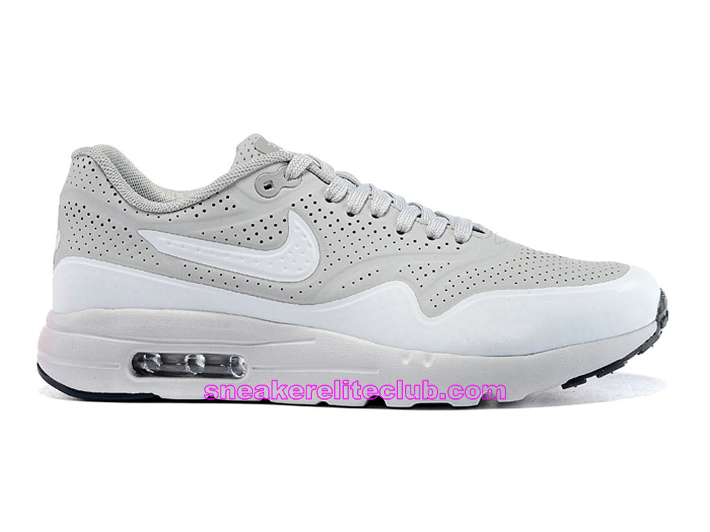 Nike Air Max 1 Ultra Moire Prix Chaussures De Running Pour Homme Gris Blanc 724390-010