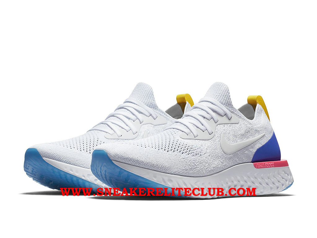 the latest d0004 dee55 ... Nike Epic React Flyknit Chaussures Running Pas Cher Prix Pour Homme  Blanc Bleu Pourpre ...