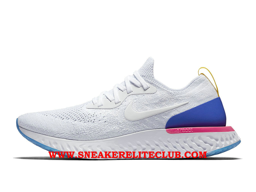 Nike Epic React Flyknit Chaussures Running Pas Cher Prix Pour Homme Blanc/Bleu/Pourpre AQ0067_101