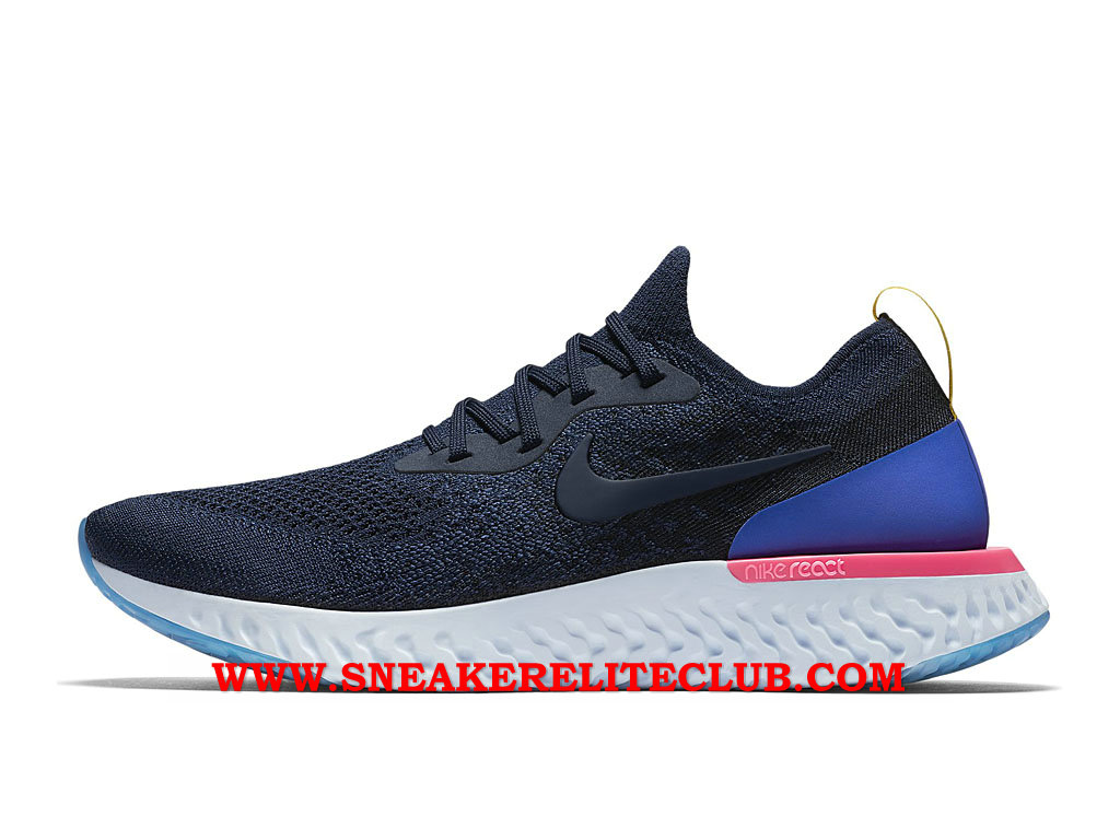 Nike Epic React Flyknit Chaussures Running Pas Cher Prix Pour Homme Bleu AQ0067_400