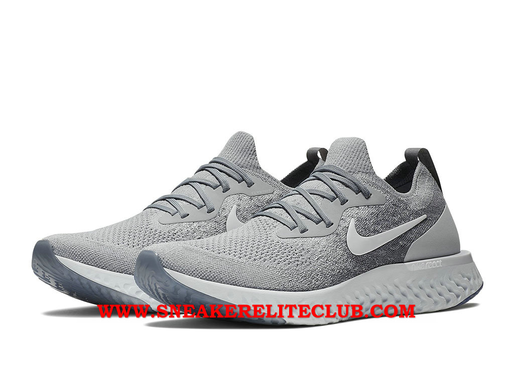 Nike Epic React Flyknit Chaussures Running Pas Cher Prix Pour Homme Gris AQ0067_002