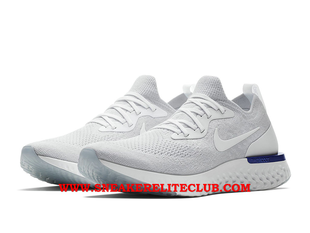 eb8e302a492b1 ... Nike Epic React Flyknit Chaussures Running Pas Cher Prix Pour Homme Gris  Blanc Bleu ...