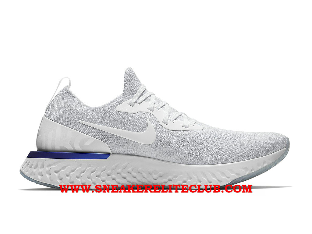 Nike Epic React Flyknit Chaussures Running Pas Cher Prix Pour Homme Gris/Blanc/Bleu AQ0067_100