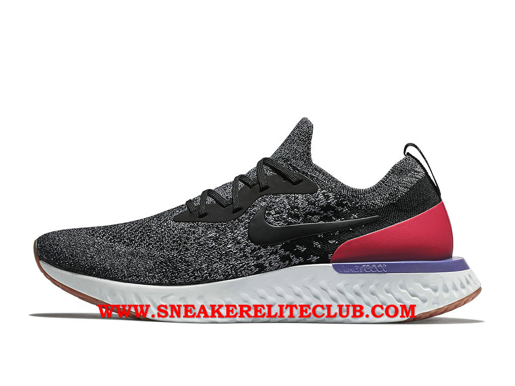 Nike Epic React Flyknit Chaussures Running Pas Cher Prix Pour Homme Noir/Gris/Rouge AQ0067_006