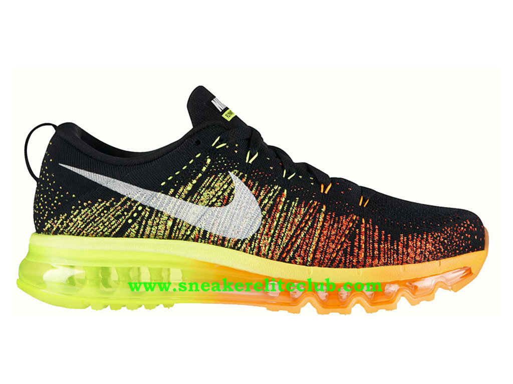 Nike Flyknit Air Max Chaussures Running Pour Homme Black Atomic Orange Vlot 620469 018
