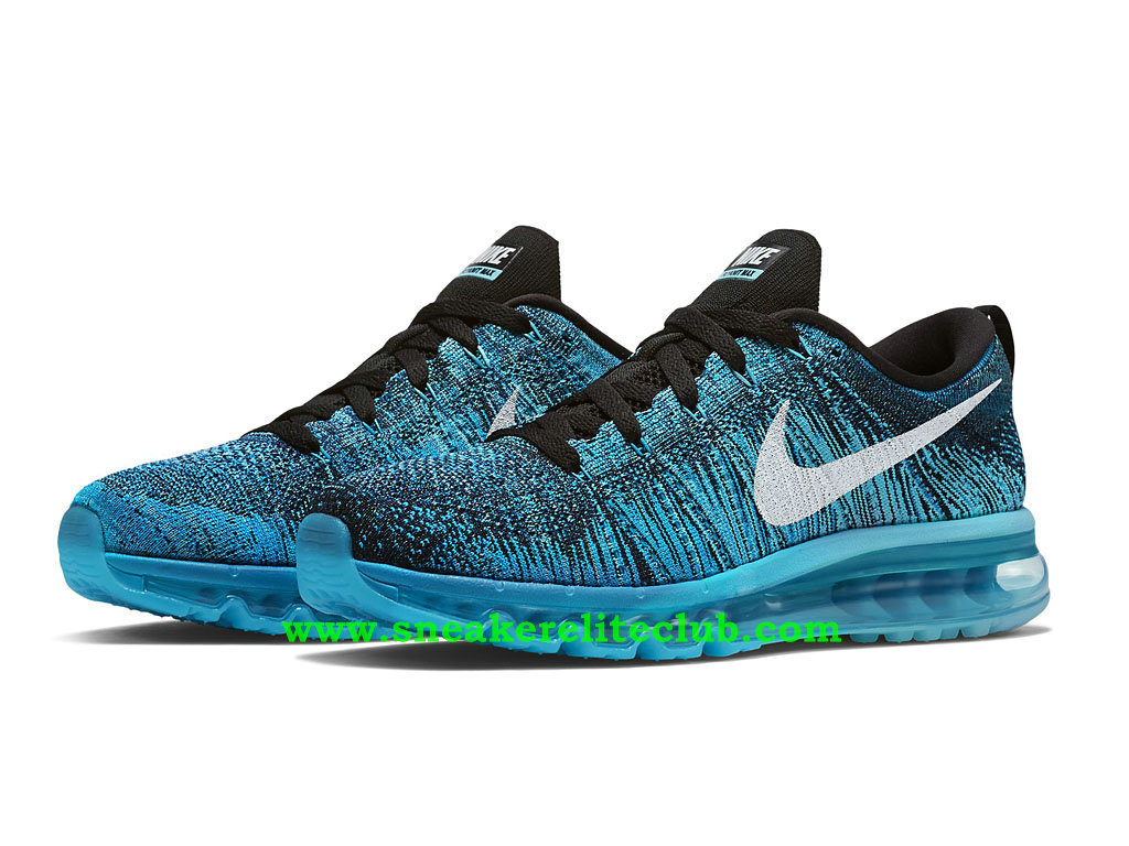 nike flyknit air max chaussures running pour homme black white tide pool blue blue lagoon 620469. Black Bedroom Furniture Sets. Home Design Ideas