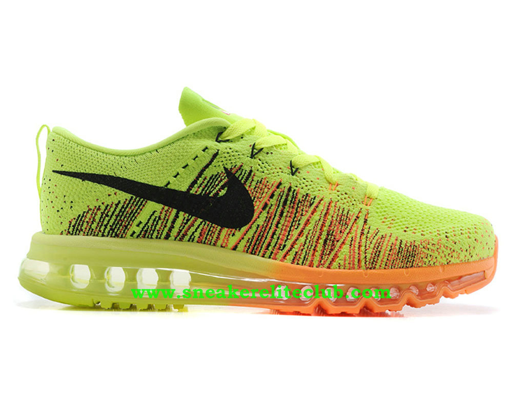 Nike Flyknit Air Max Chaussures Running Pour Homme Vert/Noir/Orange 620469-ID1