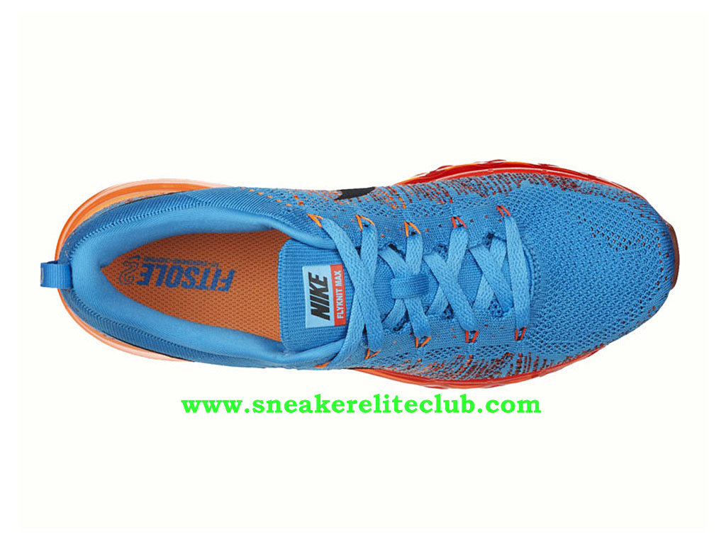 Nike Flyknit Air Max Men´s Running Shoes Vivid Blue Atomic Orange 620469 406