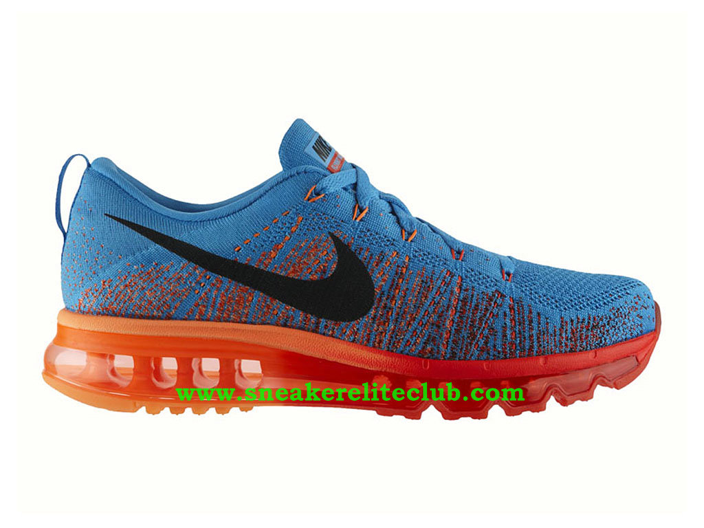 Nike Flyknit Air Max Chaussures Running Pour Homme Vivid Blue Atomic Orange 620469-406