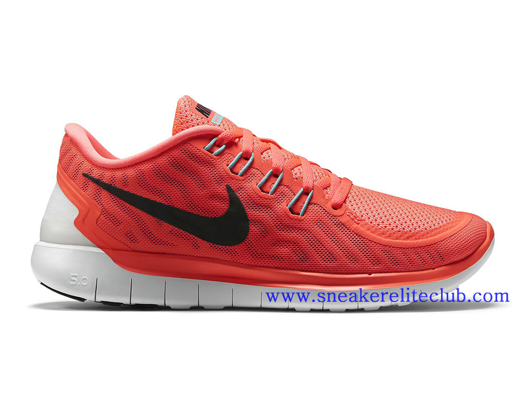 Nike Free 5.0 GS Chaussure Running Femme Rouge Noir Blanc 724383_800
