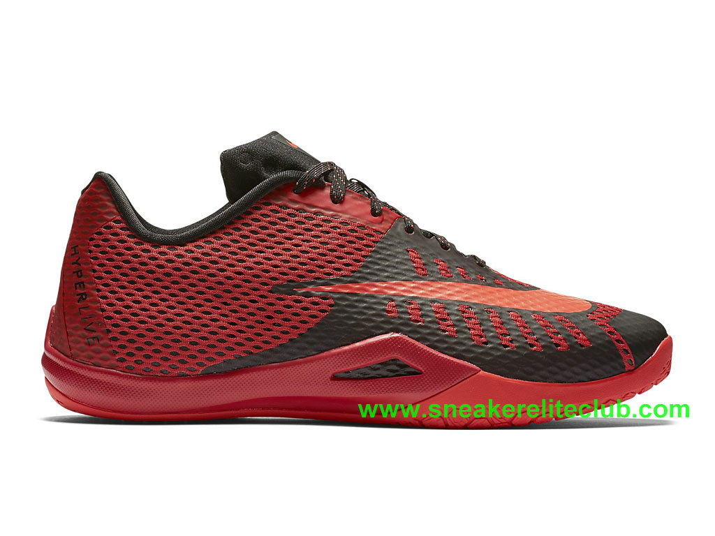Nike HyperLive EP Homme Pas Cher Noir Rouge 819663_600