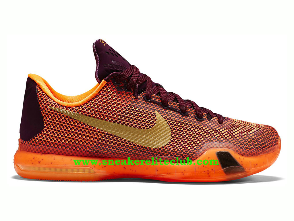 Nike Kobe X/10 Silk Road -Chaussure De BasketBall Pour Homme Orange/Brun/Or 705317-676