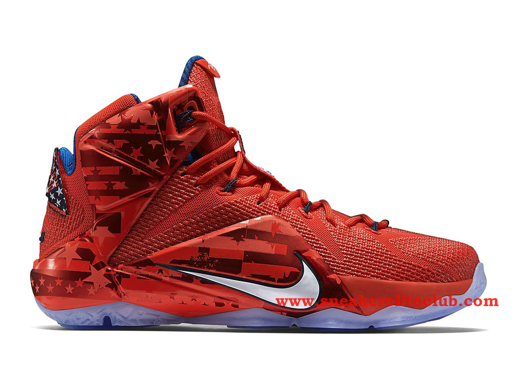 Nike Lebron 12/XII 4th of July Chaussure Basket Pour Homme Light Crimson/Bright Crimson/Midnight Navy/White