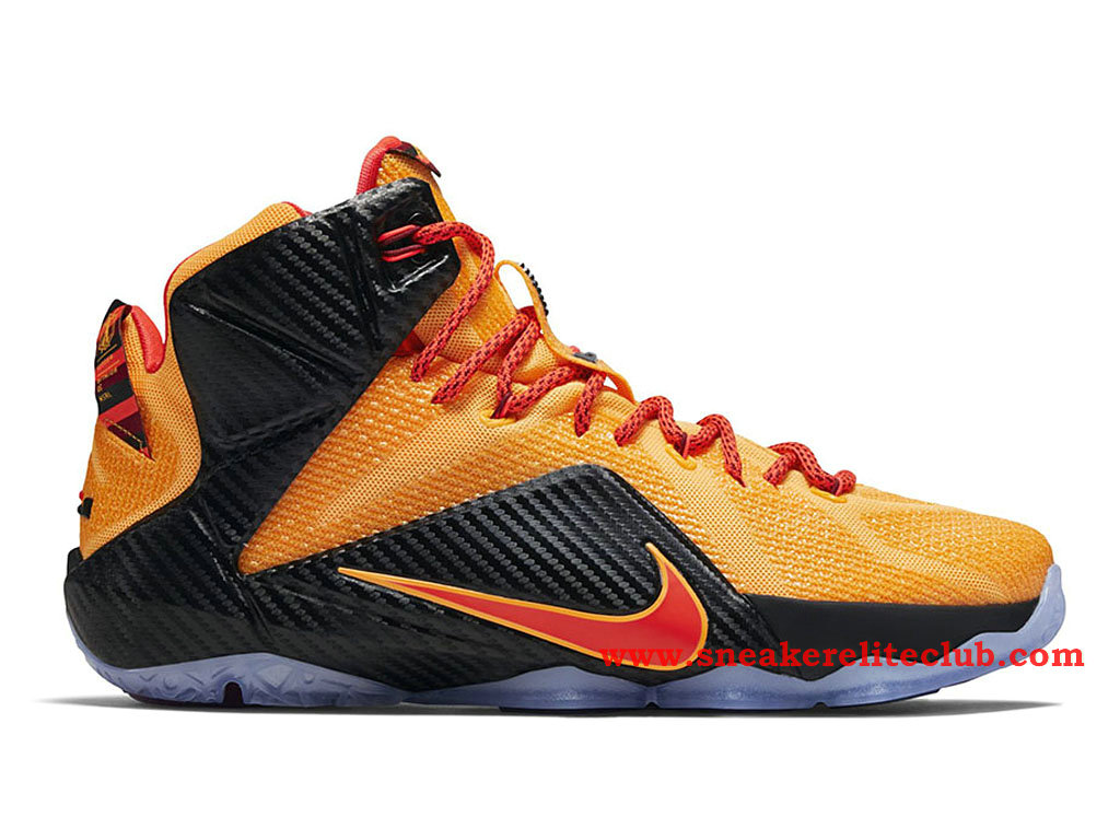 Nike LeBron 12/XII Cleveland Chaussure Basket Pour Homme Laser Orange/Green Glow-Black
