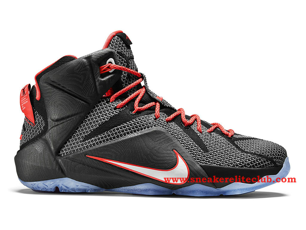 Nike Lebron 12/XII Court Vision Chaussure Basket Pour Homme Black/White/Bright Crimson