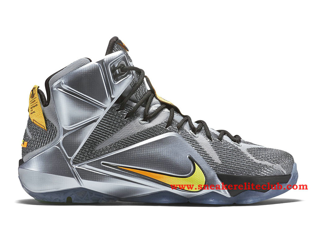 Nike Lebron 12/XII Flight Chaussure Basket Pour Homme Wolf Grey/Bright Citrus/Black