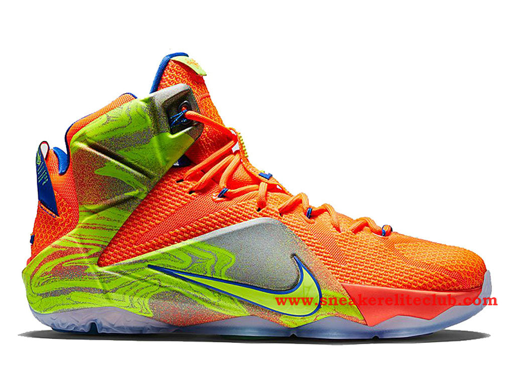 Nike Lebron 12/XII SIX Meridians Chaussure Basket Pour Homme Orange Blaze/Volt-Game Royal-Metallic Silver