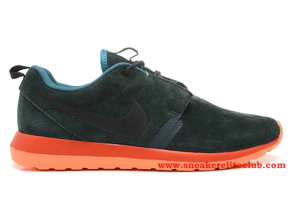 Nike Roshe Run Chaussure Homme Running Olive Noir Orange