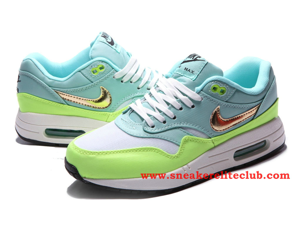 detailed look 8bb0e 90ef2 ... Nike Air Max 1 GS Women´s Shoes BlueGreenGold 454746104 ...